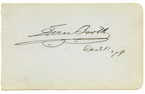 Edwin Booth (John Wilkes brother) Original Authentic Autograph 1879