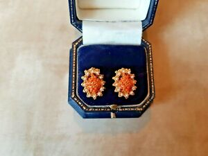 VINTAGE EARRING CLIP ON 50/60s Bead Cluster Gold Tone RETRO Faux Pearl Orange