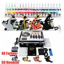 Tätowierung Komplett Tattoo Kit Set 4 Tattoomaschine DE color inks 50 Nadeln NEU