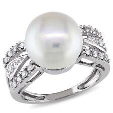 Amour 14K White Gold White Cultured Freshwater Pearl & Diamond Split Shank Ring