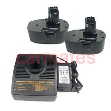 2 Battery For Black Decker FireStorm 18V 2.0Ah CD18CA PS145+compatible charger