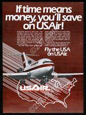 1981 USAir US Air Airways 727 plane photo vintage print ad