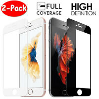 [2-Pack] For iPhone 8 7 6S 6 Plus FULL COVER 10D Tempered Glass Screen Protector