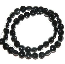 """NG1497f Black Agate 8mm Flat Puffed Round Coin Gemstone Beads 15"""""""