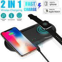 2 In 1 Fast Qi Wireless Charger Charging Dock Pad For Apple Watch iPhone 11 XR X