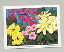 Maldives 1992 Flowers 1v S/S Imperf Chromalin Proof Mounted on Card