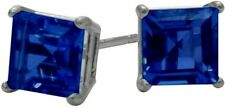0.84Ct. Created 4mm Square Sapphire 14K WG Stud Earrings