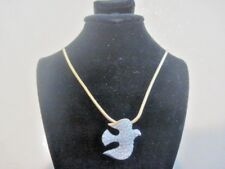 "Swarovski Swan Signed Gold Tone Clear Crystal Bird Dove Necklace 23"" long 730"