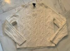 IZOD  Womens Sweater Sz Large 100% Cotton White Ivory Cable Chunky Knit NWOT