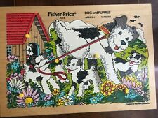 Vintage Fisher Price Wooden Puzzle, DOG 7 PUPPIES # 2713 Ages 2-4, 10 pieces