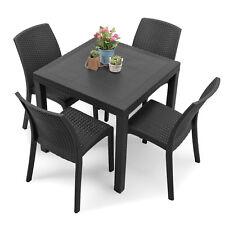 Tavolo da esterno quadrato 80x80 grigio antracite con 4 sedie