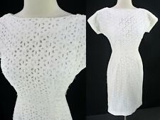 Vintage 50s Embroidered Floral EYELET Cutwork Cotton White Wiggle Dress XS
