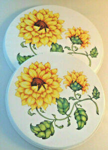4 Piece Sunflower Floral Yellow Electric STOVE RANGE BURNER COVERS Round White