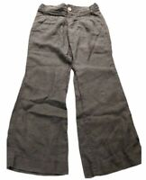 Athleta Lagoon Linen Pants Size 8 Women's  Wide Leg 100% Linen Gray