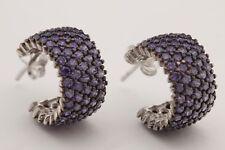 Turkish Jewelry Round Cut Rhodium Amethyst 925 Sterling Silver Hoop Earrings