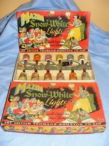 Vintage Disney Mazda Snow White With Names On Shades RARE Box Design Lights