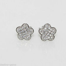 Lab-Created Good Sterling Silver Fine Diamond Earrings