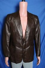 Vtg '70s Andhurst Sportswear chocolate brown two button men's leather coat 40