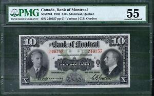 Canada 10 Dollars 1938 (Montreal Bank) PMG 64 UNC Rare