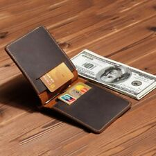 Portable Ultra-Thin Simple Money Clip Leather Card Holder Bifold Mini Wallet New