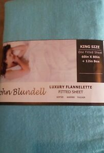 BRUSHED COTTON FLANNELETTE FITTED SHEETS KING OR SUPER KING BLUE TEAL OR BROWN