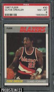 1987 Fleer Basketball #30 Clyde Drexler Portland Trail Blazers HOF PSA 8 NM-MT