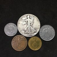 Silver Walking Liberty Half Dollar World War 2 Germany Zinc & Bronze 5 Coin Lot