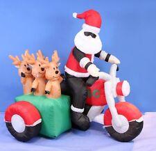 150cm Inflatable Santa & Reindeers on Motorbike Light Up Decoration Outdoor