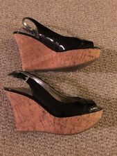 Womens Guess Patent Leather & Cork Peep Toe Wedge Size 6