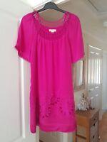 Super Monsoon Deep Pink Mini Dress/Tunic Top, 100% Silk, Size 8, VGC