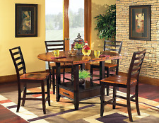 5 pc Counter Height Dining Table Chairs Set w Drop Leafs Lazy Susan and Storage