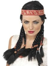 Pocahontas Red Indian Woman Wig Black Western Indian with Band