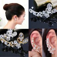 Retro Crystal Butterfly Flower Clip Ear Cuff Stud Earring Wrap  Jewelry Hot