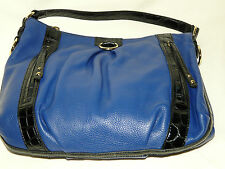 BNWT Maxx New York Genuine Leather Royal Blue Hobo Large Tote Hand Bag w Pockets