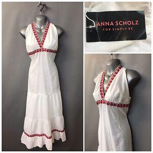 New Anna Scholz Simply Be White Cotton Boho Halter Neck Dress UK 16 RUR 44
