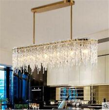 Modern led dining room chandelier simple art rectangular crystal light Lamps