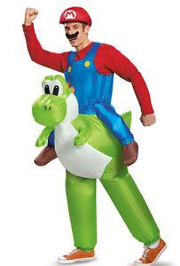Adult Inflatable Mario Riding Yoshi Fancy Dress Costume Super Mario Costume
