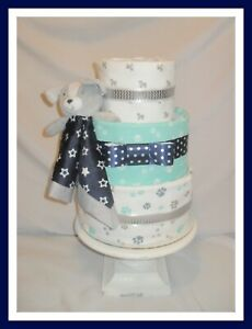Baby Boy Navy and Teal Puppy Themed Diaper Cake-Cute Shower Gift!