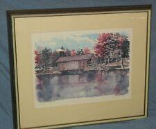VTG PAUL NORTON OLD COVERED BRIDGE LITHO ART WASHINGTON LEWIS RIVER CEDAR CREEK