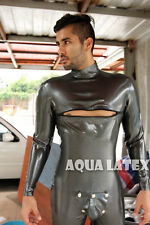 Neck Entry Catsuit Rubber Latex Bodysuit with Chest Zip and Cod-piece