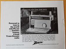 Zenith Trans- Oceanic Portable Radio  1966  Magazine Print Ad