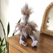 "Jellycat Mad Pet Odette Ostrich Plush 20"" Soft Toy Gray Pink Stuffed Animal"