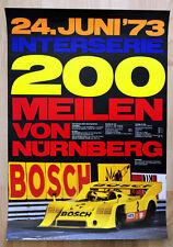 """1 org. Plakat Renn Poster """"200 Meilen von Nürnberg 1973"""" 6 x Sieg Porsche 917"""