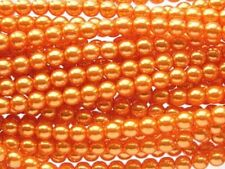 ORANGE Czech glass round pearl beads - string of 75 beads - 8mm