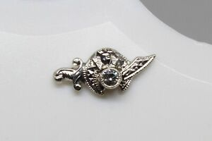 Diamond Tie Pin Masonic  10K Solid White Gold Genuine Diamond