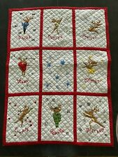 Pottery Barn Christmas Santa Reindeer Quilted Toddler Quilt Blanket Wall Hanging