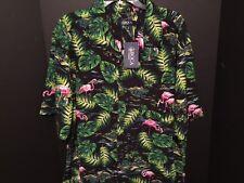 NWT Pink Flamingos 2XL Hawaiian Aloha Shirt Tropical Palms 100% Rayon Button Up