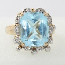 Large 9ct Gold Faceted Aquamarine & Diamond Cluster Ring Size Q Hallmarked 2004
