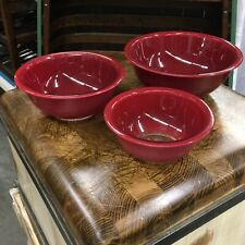Vintage Pyrex Nesting Mixing set 3 Bowls Deep Red Clear Base # 325, 323, 322 USA