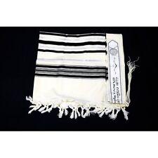TRADITIONAL WOOL TALLIT WITH BLACK & SILVER STRIPES Jewish Prayer Shawl SIZE 36